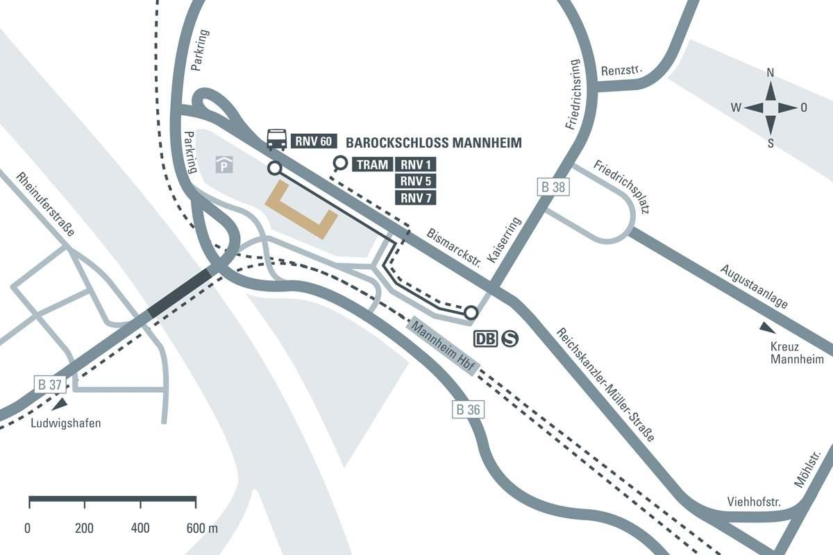 Anfahrtsskizze zum Barockschloss Mannheim