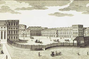 The prince-electors' Mannheim Palace, copper engraving circa 1782, engraved by the Klauber brothers. Image: Staatliche Schlösser und Gärten Baden-Württemberg, Andrea Rachele