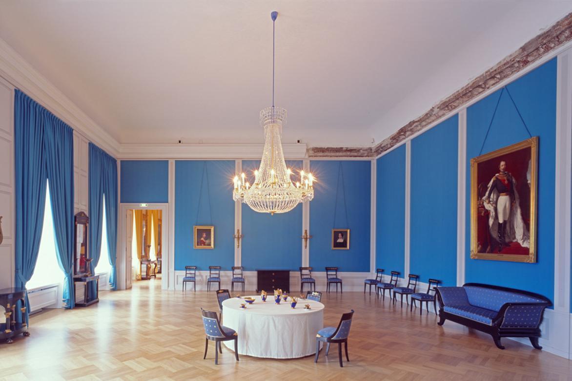Blauer Salon im Schloss Mannheim; Foto: Staatliche Schlösser und Gärten Baden-Württemberg, Dirk Altenkirch