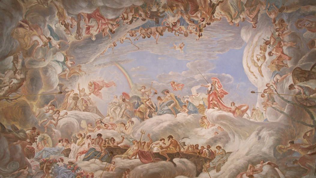 Mannheim Baroque Palace, ceiling fresco in the Knights' Hall; photo: Staatliche Schlösser und Gärten Baden-Württemberg, Arnim Weischer