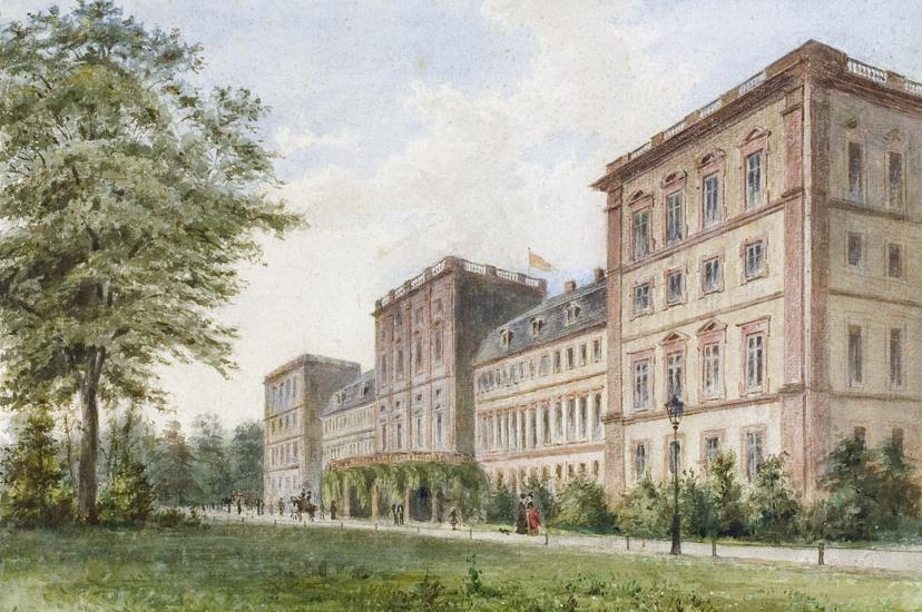 Watercolor of a view from the garden side of Mannheim Palace, circa 1890. Image: Staatliche Schlösser und Gärten Baden-Württemberg, Andrea Rachele