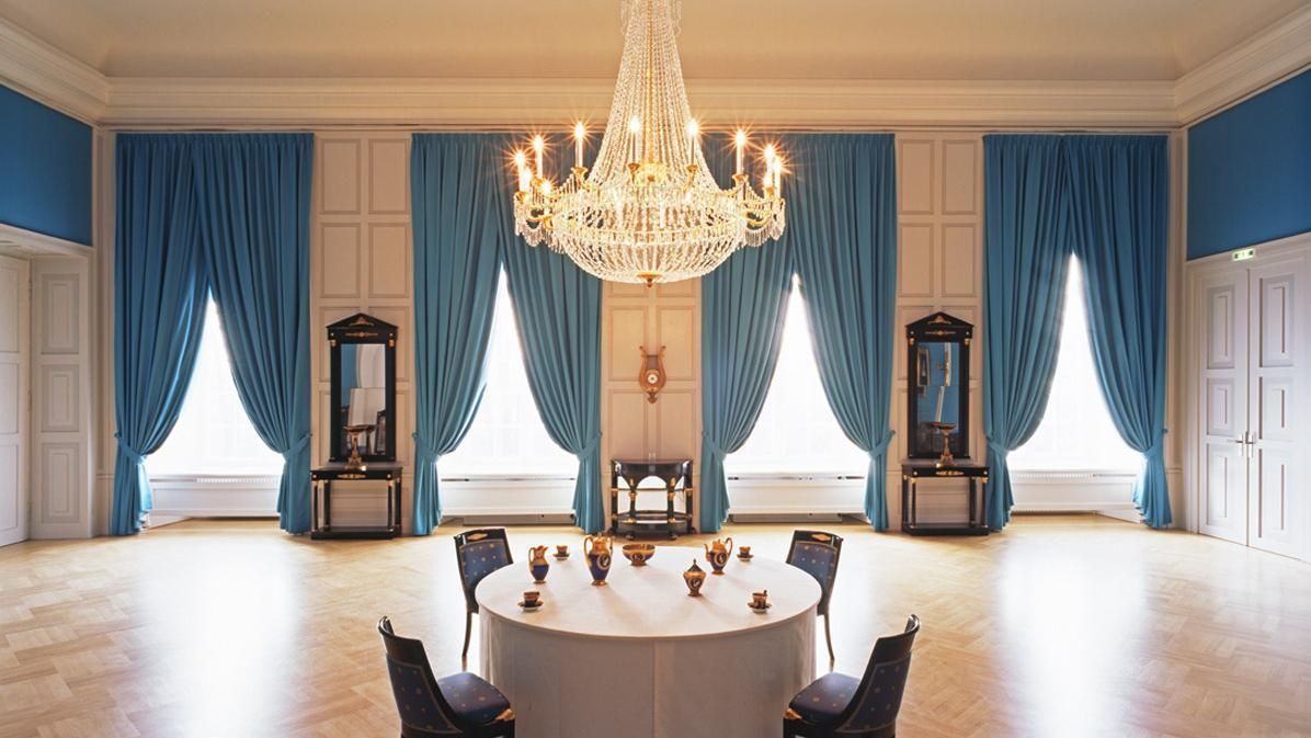 Blauer Salon von Schloss Mannheim;  Foto: Staatliche Schlösser und Gärten Baden-Württemberg, Dirk Altenkirch
