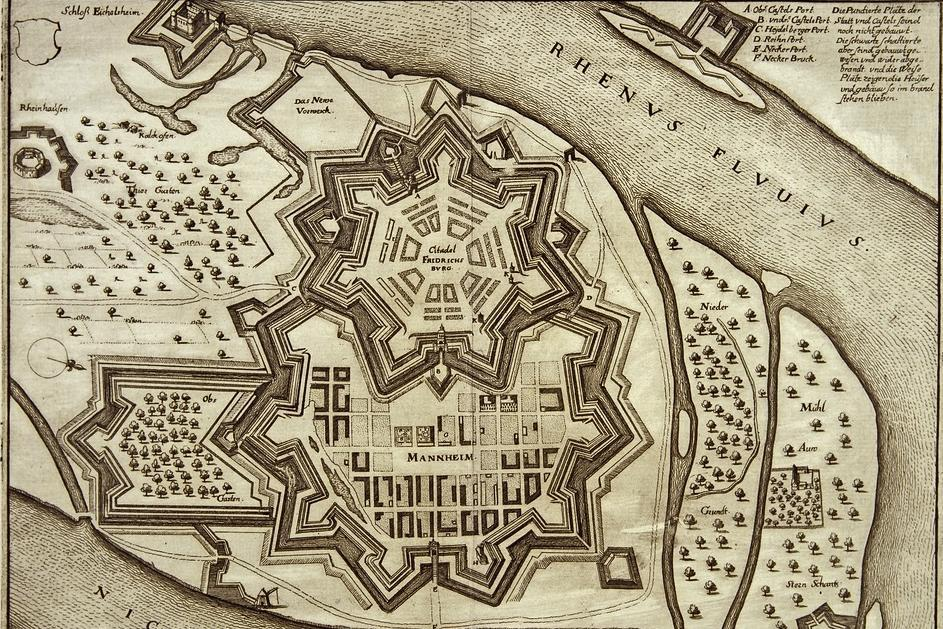 The city and citadel of Mannheim, copper engraving by Matthäus Merian, first half of the 17th century. Image: Staatliche Schlösser und Gärten Baden-Württemberg, Andrea Rachele