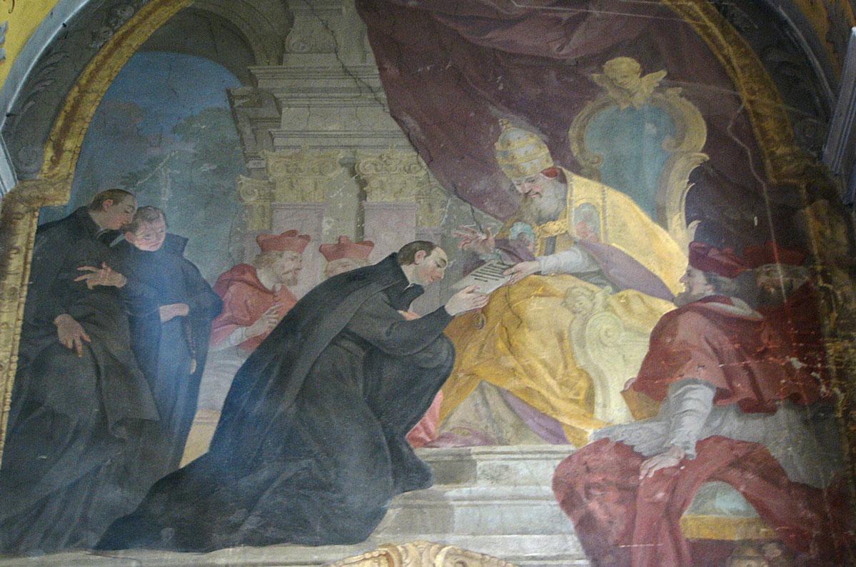 """Übergabe der Bulle """"Regimini militantis Ecclesiae"""" an die Jesuiten, Fresko in der Maria-Schnee-Kirche in Olomouc/ Teschechien; Foto: Wikipedia, gemeinfrei"""