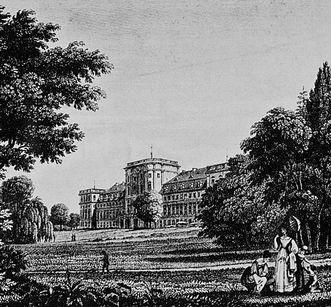 Ansicht des Schlosses Mannheim von Süden, Kupferstich von Schnell nach Fries, um 1830