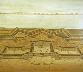 Mannheim Baroque Palace, inlaid image with the palace and fortifications by Jean Clemens Froimont, circa 1725. Image: Staatliche Schlösser und Gärten Baden-Württemberg, Andrea Rachele