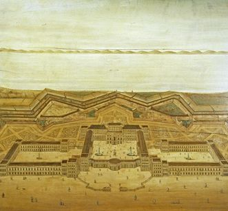 Mannheim Palace and fortification, inlaid image circa 1720, based on an architectural drawing by Jean Clemens Froimon