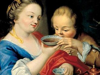 "Detail from the painting ""The Tea Drinkers"" in Rastatt Favorite Palace. Image: Staatliche Schlösser und Gärten Baden-Württemberg, credit unknown"