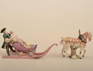 """Porcelain """"sleigh ride"""" figurine by Johann Friedrich Lück, 1762/1763. Image: Staatliche Schlösser und Gärten Baden-Württemberg, credit unknown"""