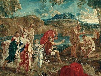 "Barockschloss Mannheim, Tapisserie ""Taufe im Jordan"". Christus-Serie, Brüssel, 2. Hälfte 18. Jahrhundert"