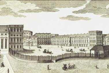 Kurfürstliches Schloss Mannheim, Kupferstich von 1782, gestochen von den Brüdern Klauber