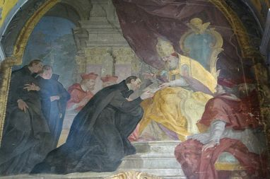 "Issue of the ""Regimini militantis Ecclesiae"" bull to the Jesuits, fresco in the Church of Our Lady of the Snows in Olomouc, The Czech Republic. Image: Wikipedia, in the public domain"