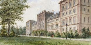 Watercolor of a view from the garden side of Mannheim Palace, circa 1890.