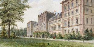 Aquarell mit Ansicht der Gartenseite von Schloss Mannheim, um 1890