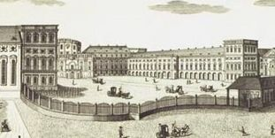 Image: The prince-electors' Mannheim Palace, copper engraving circa 1782, engraved by the Klauber brothers