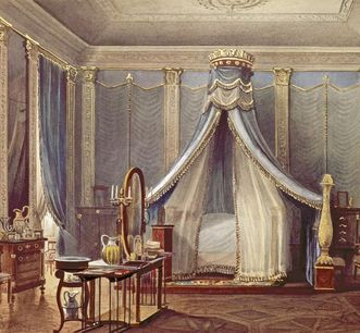 Bedroom in the former apartment of Grand Duchess Stéphanie in Mannheim Palace, watercolor by Pieter Francis Peters, 1842. Image: Staatliche Schlösser und Gärten Baden-Württemberg, Andrea Rachele