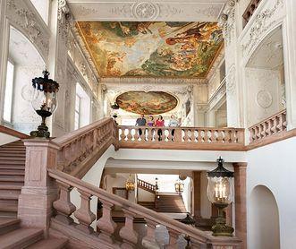 The staircase in Mannheim Palace. Image: Staatliche Schlösser und Gärten Baden-Württemberg, Christoph Hermann