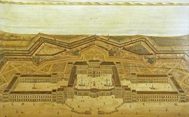 Fortified complex and palace in Mannheim, inlaid image circa 1725. Image: Staatliche Schlösser und Gärten Baden-Württemberg, Andrea Rachele