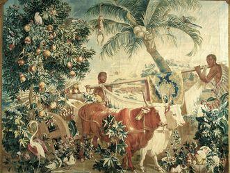 Barockschloss Mannheim, Tapisserie der Neu-Indien-Serie mit Ochsen