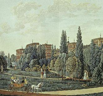 Schloss Mannheim mit seinem Landschaftsgarten, Aquarell von J.P. Karg, 1819