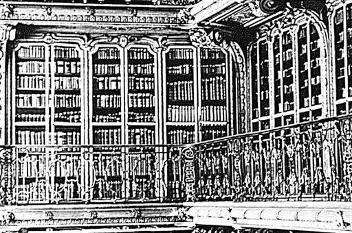 Detail of the royal library of the electress in Mannheim Palace, historical photograph circa 1897. Image: Staatliche Schlösser und Gärten Baden-Württemberg, Hubert Hill