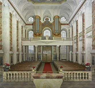 "Interior of the palace chapel of Mannheim with the ""Visitation of Mary"" ceiling painting. Image: Staatliche Schlösser und Gärten Baden-Württemberg, Arnim Weischer"