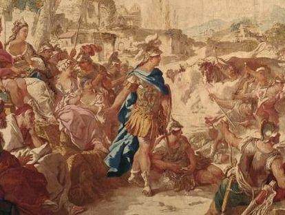"""Barockschloss Mannheim, Tapisserie """"Die aufgehende Drachensaat"""", Jason-Serie, Paris, 1762 bis 1767"""