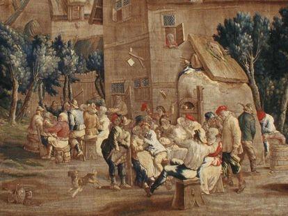 Barockschloss Mannheim, Detail, Tapisserie, Wirtshausszene, Teniers