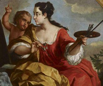 Allegorie der Malerei von Johann Philipp van der Schlichten um 1729 im Rittersaal von Schloss Mannheim;  Foto: Staatliche Schlösser und Gärten Baden-Württemberg, Arnim Weischer