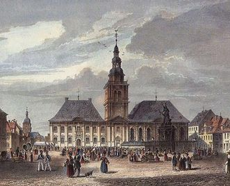 Mannheim town hall, 1840 by Joseph Maximilian Kolb. Image: Wikipedia, in the public domain