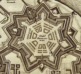 Friedrichsburg Castle, detail of a copper engraving of the city and citadel, 17th century. Image: Staatliche Schlösser und Gärten Baden-Württemberg, Andrea Rachele