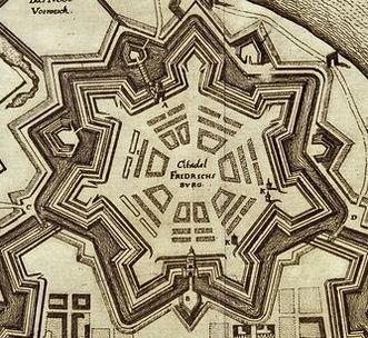 Die Friedrichsbug, Ausschnitt aus einem Kupferstich von Stadt und Zitadelle, 17. Jahrhundert