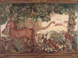 Barockschloss Mannheim, Tapisserie der Neu-Indien-Serie mit Elefant, Ausschnitt