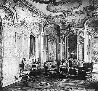 Bibliothekskabinett in Schloss Mannheim, historische Aufnahme um 1897
