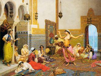 """Gemälde """"Tanz im Harem"""", Giulio Rosati (1861-1917);"""