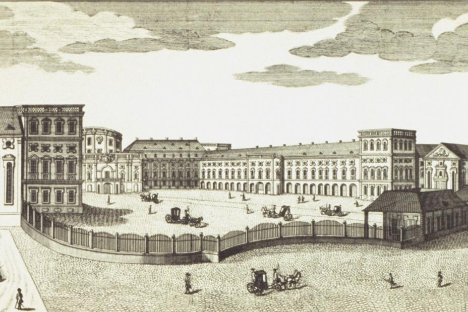 [Translate to Englisch:] Kurfürstliches Schloss Mannheim, Kupferstich von 1782, gestochen von den Brüdern Klauber